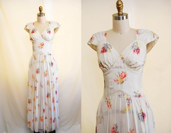 1930s Wedding Gowns: Vintage 1930s Romantic Evening Gown / 30s Floral Wedding Dress