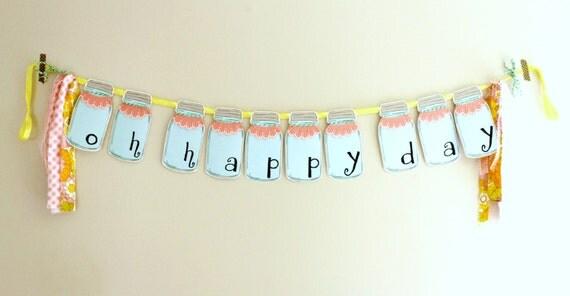 mason jar garland - party garland - room decor - oh happy day