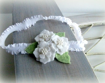 Felt Flower Headband - Baptism Christening Wedding Baby Infant Easter White Hydrangea Flowers and Mint Green Leaves