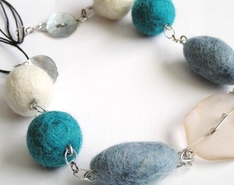 Whimsical, Bold Felt, Recycled Glass & Mother of Pearl Button Necklace with Funky Felt Earrings