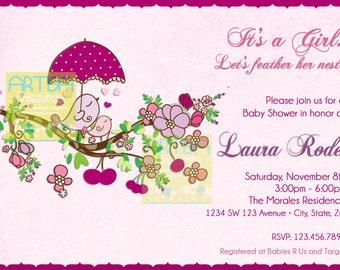 Spring Birds Baby Shower Invitation - Baby Girl Birds Baby Shower Invitation - Pink and Purple Birds Baby Shower Invitation