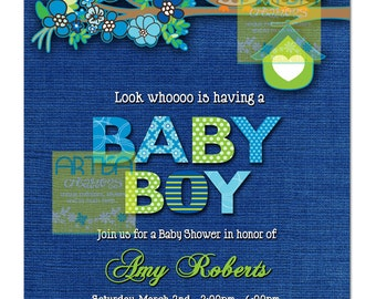 Owl Baby Shower Invitation - Owls Baby Boy Shower Invitation - Blue Owls Baby Shower Invitation - Blue and Lime Owls Baby Shower