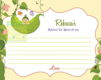Pea in a Pod Advice Card - Two Peas in a Pod Advice Card Advice for Mom to Be card - Three Peas in a pod advice card