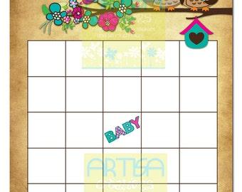 Owls Baby Shower Bingo - Owls and Flower Baby Bingo - Owl Baby Shower Baby Bingo - Owls Baby Shower Bingo - Owls Bingo