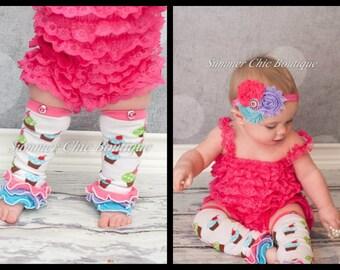Leg Warmers AND Headband - Cupcake Leg Warmers, Baby Leg Warmers, Toddler Leg Warmers, Girls Leg Warmers, and Headband Set
