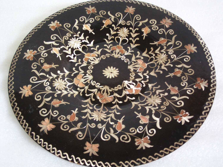 Plate Vintage Copper Wall Hanging ETCHED Flowers Dark Enamel