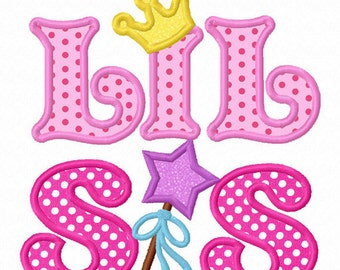 Instant Download Little Sister With Crown Applique Machine Embroidery Design NO:1288