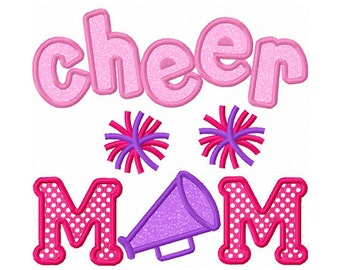 Instant Download Cheer MOM Applique Machine Embroidery Design NO:1310