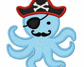 Instant Download Octopus Pirate Applique Machine Embroidery Design NO:1323