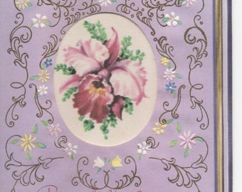 Die Cut Vintage Birthday Card Unused Greeting Yellow and Purple Lillies Flowers Artistic 1940 Because It's Your Birthday