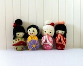 The Fab Four Kokeshi dolls, crochet amigurumi, ooak. SPECIAL PRICE