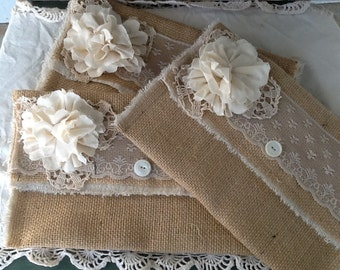 Burlap and  Lace wedding clutch, bridesmaids gift, bridesmaids clutch, bridal clutch