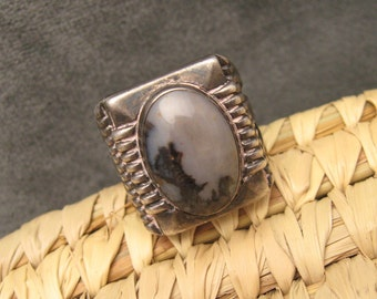 Vintage Sterling Ring Landscape Agate Gray Black Mens Jewelry R386
