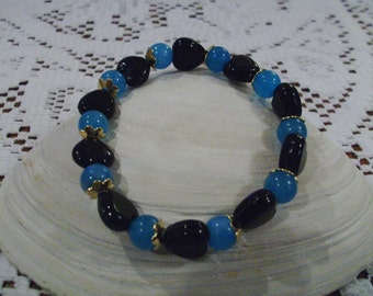 Blue and Black Heart Bracelet    FREE SHIPPING