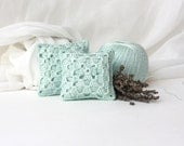 Crochet Lavender Sachets/ Eco Friendly Gifts / Wedding Favor/ Granny Square Aromathic Pillow / Mint Green - sweetbamboo