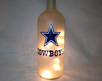 Hand Painted Dallas Cowboys Recycled Wine Bottle with lights
