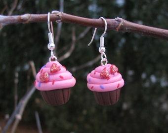 Cupcake Earrings with sprinkles in Polymer Clay.  Handmade