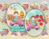 MATILDA and pink scooter - oval image - 30 x 40 mm or 18 x 25 mm - digital collage sheet  - Printable Download