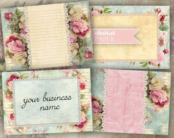 Business Cards - Tags - digital collage sheet - set of 8 - Printable Download