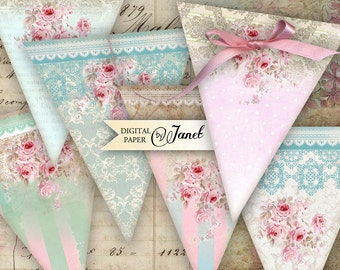Shabby Chic Banner - digital collage sheet - set of 3 sheet