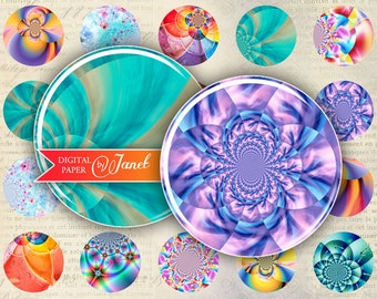 Full Color - circles image - digital collage sheet - 1 x 1 inch - Printable Download