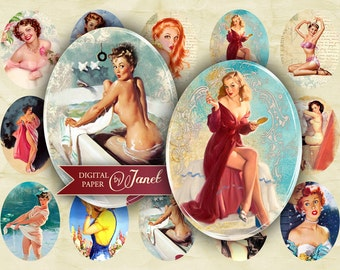 PIN Up - Vintage Illustration - oval image - 30 x 40 mm or 18 x 25 mm - digital collage sheet  - Printable Download