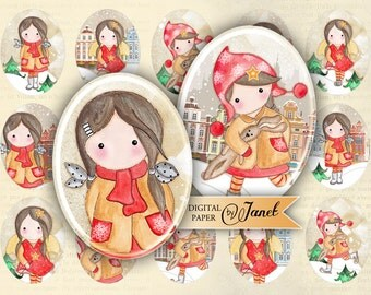 Matilda and SNOW - oval image - 30 x 40 mm or 18 x 25 mm - digital collage sheet  - printable JPG file