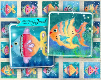 FISH color - squares image - digital collage sheet - 1 x 1 inch - Printable Download