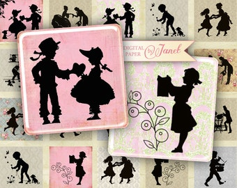 Vintage Silhouette - squares image - digital collage sheet - 1 x 1 and 1,5 x 1,5 inch - Printable Download