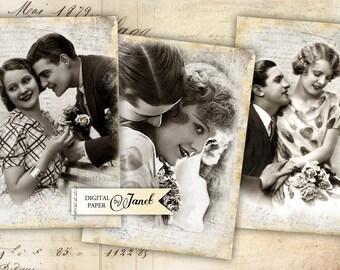 Old Image - digital collage sheet - set of 8 - Printable Download