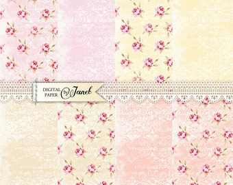 Sweet Garden - 12 x 12 inch - background - digital collage - set of 8 - Printable Download