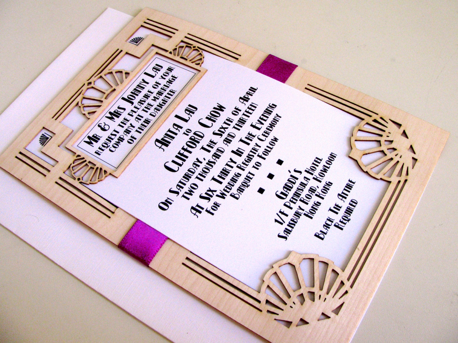Great Wedding Invites: Great Gatsby Wedding Invitation And Response Card: Laser Cut