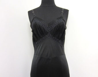 1960s black slip with sheer bust and navy blue lace accents - high end burlesque pin up hollywood regency - vegan - small