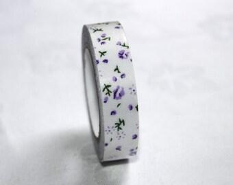 purple flower tape- pretty purple tape- floral sticker Qty1