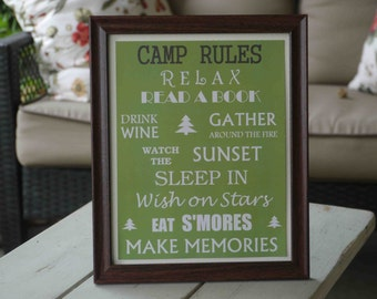 Camp Rules Framed Sign