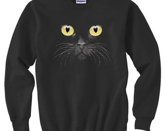 Crewneck Sweatshirt / Yellow Eyed Cat
