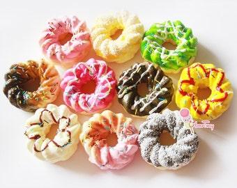 Jumbo (large) squishy French Cruller Twist Donut Pendant