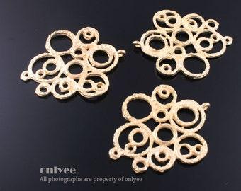 10pcs-32mmX27mmGold plated Zinc Alloy Filigree multi circle Connector charm, pendant(K463G)