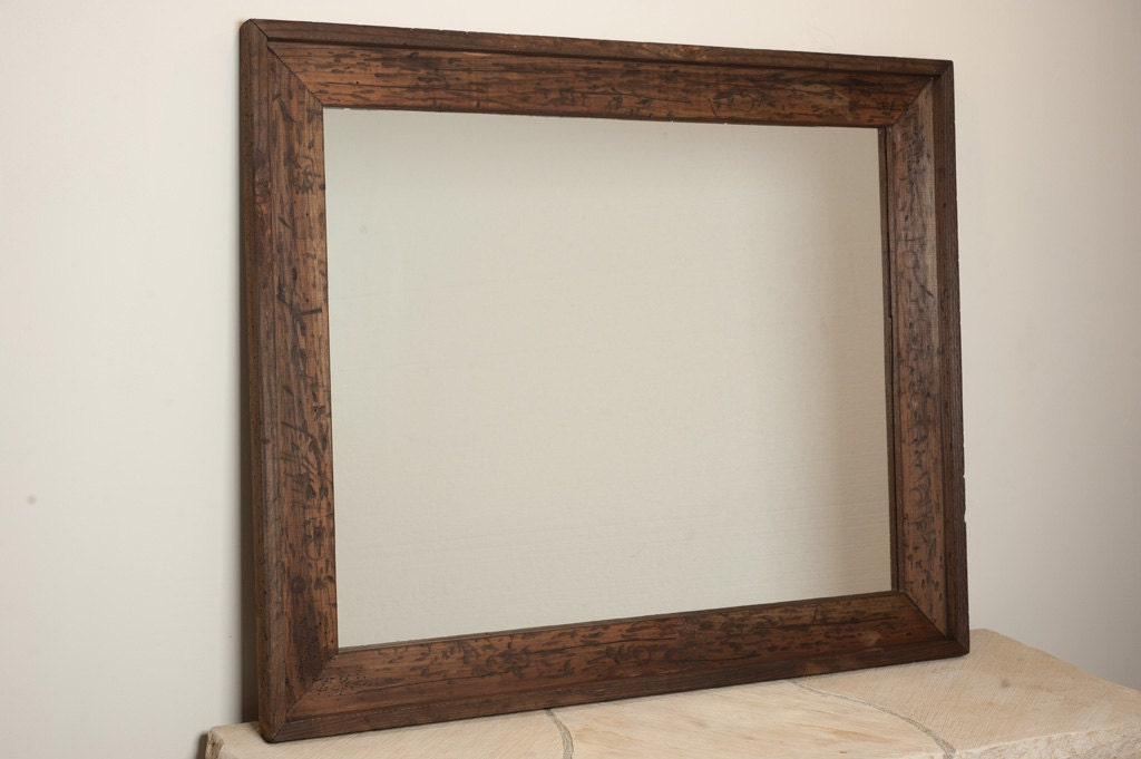 Large rustic wall mirror by englertandenglert on etsy for Large wall mirror wood frame