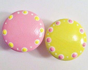 Hand Painted Petal Pink and Pale Yellow Drawer Knobs for your Dresser