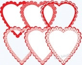 Clipart Heart Frames, Clip Art Heart Frames - Valentine's Day clipart, Valentine's Day clip art, hearts, digital, scalloped, red, white