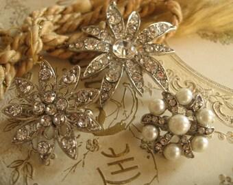 Sparkles mini Swarovski rhinestone crystals and pearls wedding bridal brooch pin, flower brooch, crystals brooch, bridesmaids gift