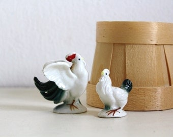 SALE 50 OFF Vintage Rooster and Chicken Ceramic Figurines Home Decor Collectible Porcelain