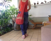Thai Hobo Cross Body Sling Bag (XL) - Diaper - Tote - Red Color with Golden Silk Elephant Prints