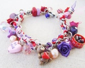 Personalized Stainless Steel and Polymer Clay Charm Bracelet - With beautiful assorted beads - Beautifully Packaged - Valentine's Day