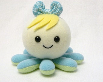 Girly octopus plushie toy with bow and bangs