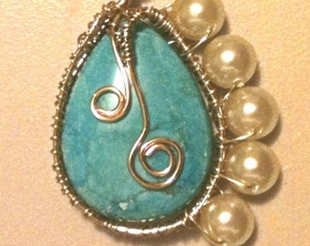 Unique Turquoise Pendant Necklace with Spirals and Pearls