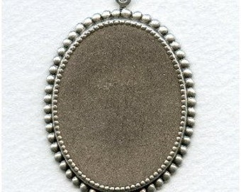 One Fancy Setting Base for a 40 x 30mm Pendant or Stone - Ox Sterling Silver Plated Brass
