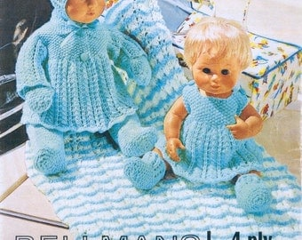 "PDF Vintage Knitting Patterns for Dolls - 14"" and"" 16"" Beautiful Layette"