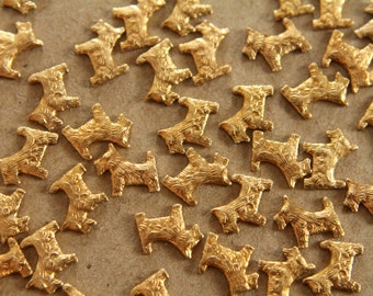 12 pc. Tiny Raw Brass Scottish Terrier Dogs: 8mm by 7mm - made in USA | RB-051